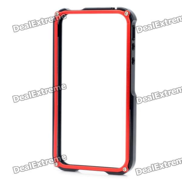 Stylish Aluminum Alloy Protective Bumper Frame Set for Iphone 4 / 4S - Black + Red s what ultrathin protective aluminum alloy bumper frame for iphone 4 4s black