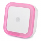 Light-Activated Square Shaped White LED Night Light Lamp - Pink + White (2-Flat-Pin Plug / 110~220V)