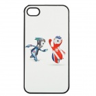 London Olympic Mascots Pattern Protective Plastic Cover Case for iPhone 4 / 4S - White