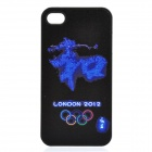 "London 2012 Olympics ""he"" Word Pattern Protective Case for iPhone 4 / 4S - Black + Blue"