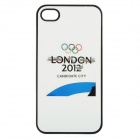 2012 London Olympic Games Logo Protective Plastic Cover Case for iPhone 4 / 4S - White + Blue