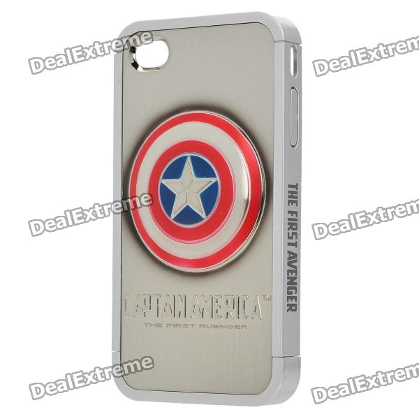 Cool Protective Captain America Pattern Case Cover for Iphone 4 / 4S - Silver + Red circle pattern protective pu leather case w strap for iphone 4 5 4s red