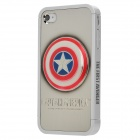 Cool Protective Captain America Pattern Case Cover for Iphone 4 / 4S - Silver + Red