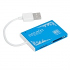 Ultra-Thin USB 2.0 SD / TF / MS Duo / Micro MS / M2 Card Reader - Blue (Max. 32GB)