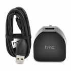 AC Power Adapter Charger w/ USB Data & Charging Cable for HTC One X + More (3-Flat-Pin Plug)