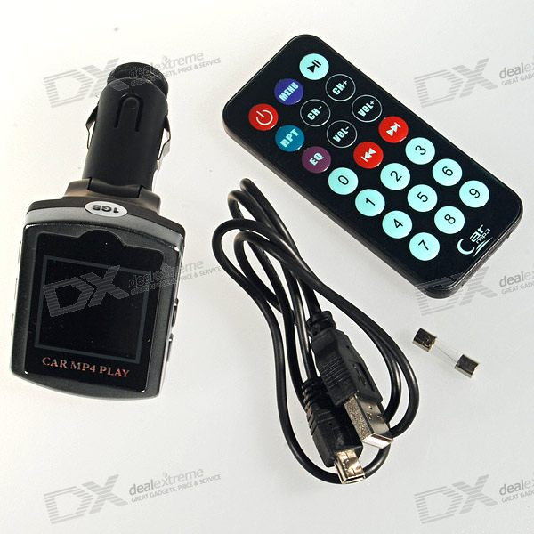 "1.5"" LCD Car MP3/MP4 Player + Full Range FM Transmitter with Auto Play-Resume and Remote (1GB)"