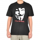 Cool V for Vendetta Logo Pure Cotton T-shirt - Black (Size-L)