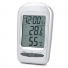 "W240 2.7"" LCD Multi-Function Digital Thermometer / Humidity Meter w/ Alarm Clock - Silver (1 x AAA)"
