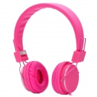 Stylish Adjustable Headphone Headset w/ Microphone - Deep Pink (3.5mm-Plug / 150cm-Cable)