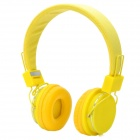 Stylish Adjustable Headphone Headset w/ Microphone - Yellow (3.5mm-Plug / 150cm-Cable)