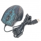 R.Horse RH-3200 USB Wired 800/1600/2400/3200DPI Gaming Optical Mouse - Black + Blue (190cm-Cable)