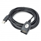 USB 2.0 Male to Female Extension Cable with Signal Booster - Black (5M-Length)