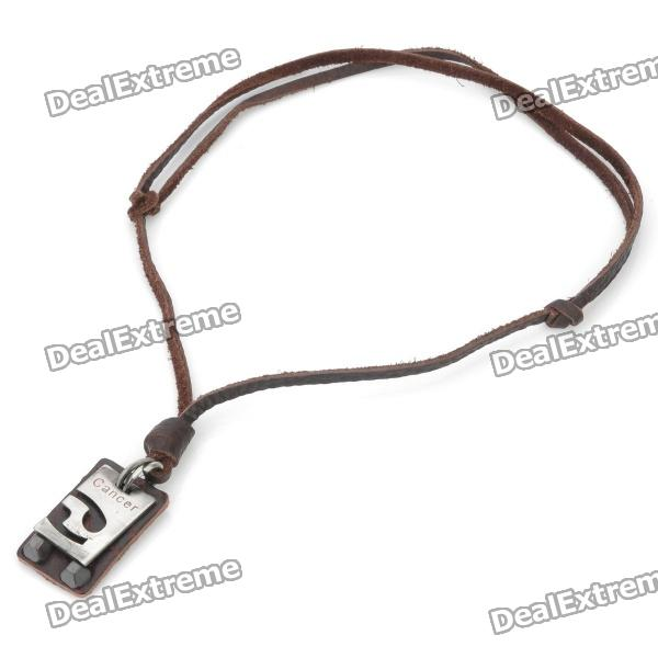 Fashion Cancer Zodiac Style Leather Necklace - Brown + Silver