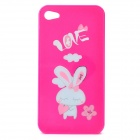 Cute Cartoon Rabbit Style Protective PC Back Case for iPhone 4 / 4S - Deep Pink