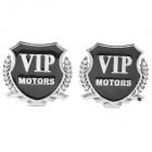 """VIP Motors"" Pattern Metal Car Decorative Stickers - Silver + Black (Pair)"
