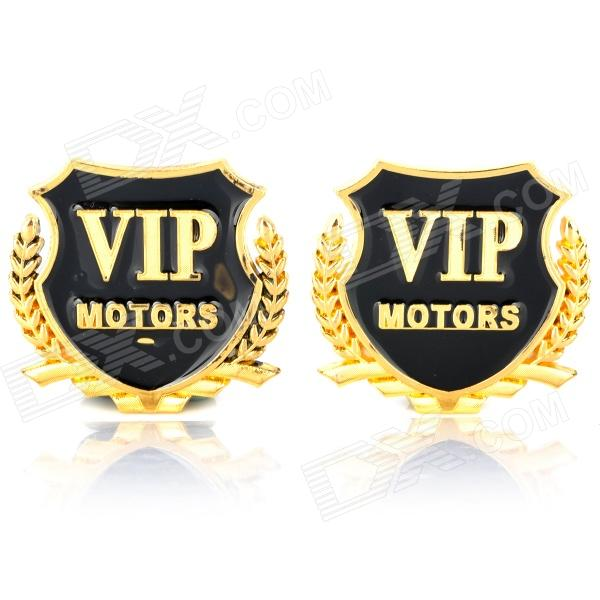 VIP Motors Pattern Metal Car Decorative Stickers - Golden + Black (Pair) car wheel rims decorative stickers blue 28 piece
