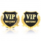 """VIP Motors"" Pattern Metal Car Decorative Stickers - Golden + Black (Pair)"