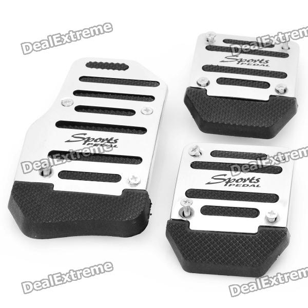 Vehicle Car Non-Slip Anti-Slip Pedal Covers for Brake/Clutch/Accelerator - Silver + Black (3-Piece)