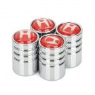 Car Tire Valve Caps for Honda - Silver + Red (4-Piece Pack)