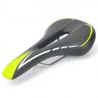 Replacement Leather Covering Hollow-Out Mountain / Road Cycling Saddle - Green + Black + White