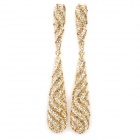 Stylish Shining Rhinestone Zinc Alloy Earrings - Silver + Golden (Pair)