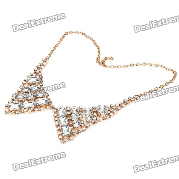 Elegant CrystalCollar Necklace - Golden + White