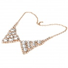 Elegant Imitation Diamond Collar Necklace - Golden + White