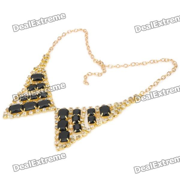 Fashion Copper Rhinestone Neck Decoration Collar - Black + Golden