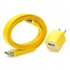 USB Sync/Charging Flat Cable + AC Power Adapter for iPhone 4 / 4S - Yellow (2-Flat-Pin Plug)