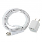 Simple Flat USB Sync/Charging Cable + AC Power Adapter for iPhone 4 / 4S - White (2-Flat-Pin Plug)