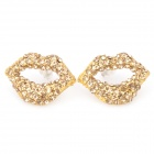 Stylish Lips Shape Ear Nail Earrings - Golden