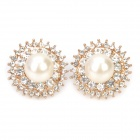 Elegant Pearl Diamond Ear Nail Earrings - White + Golden (Pair)