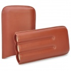 Luxury Genuine Cowhide Leather 3-Finger Cigar Holder Storage Carrying Case - Brown