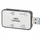 Super Speed USB 3.0 Micro SD/TF + SD + M2 + MS Card Reader - Black + White