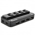 4-Port USB 2.0 HUB w/ Independent Switch - Black