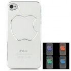 Flashing Multicolored LED Protective Plastic Back Case for iPhone 4 / 4S - Silver (1 x CR2016)