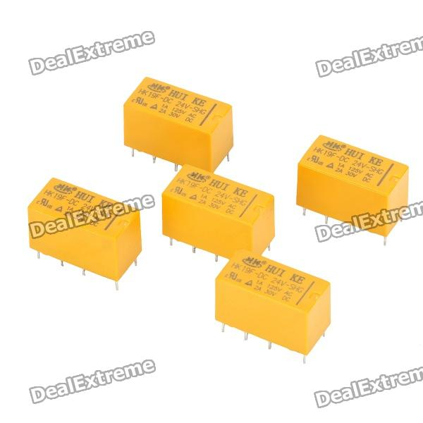DIY Power Relay for Communication Security - Yellow (5-Piece Pack) hk3ff dc5v shg 5 pin power relay black 5 piece