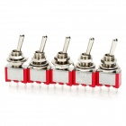 DIY 3-Pin Toggle Switch - Red + Silver (5-Piece Pack)