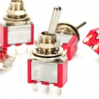 DIY 3-Pin Toggle Switch - Red + Silver (5PCS)