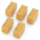 DIP Type HK19F-DC5V-SHG 8-Pin Power Relay - Yellow (5-Piece)