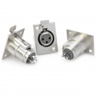 3-Pin XLR Female Connectors - Silver (5PCS)