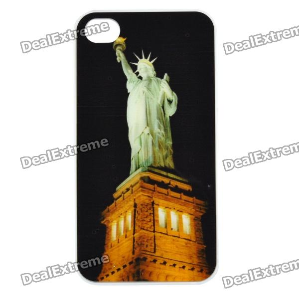 Statue of Liberty Pattern Protective Case w/ Flashing LED for Iphone 4 / 4S (1 x CR2025) statue of liberty pattern protective plastic case for iphone 4 4s blue white