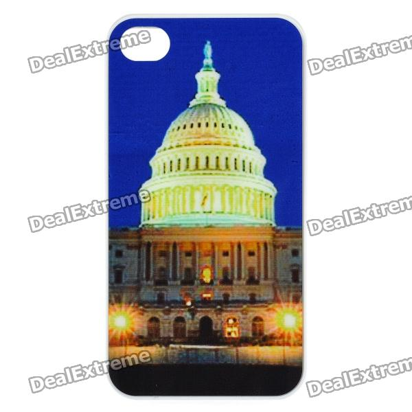 White House Pattern Multicolored LED Plastic Back Case for Iphone 4 / 4S - Blue (1 x CR2025) for iphone 7 4 7 inch brushed plastic kickstand shell casing baby blue