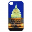 White House Pattern Multicolored LED Plastic Back Case for Iphone 4 / 4S - Blue (1 x CR2025)