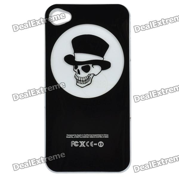 Skull Pattern Protective Case w/ Caller Signal Flashing LED for Iphone 4 / 4S - Black (1 x CR2016) cool skull head style protective soft silicone back case for iphone 4 4s pink
