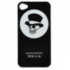 Skull Pattern Protective Case w/ Caller Signal Flashing LED for Iphone 4 / 4S - Black (1 x CR2016)