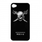 Pirate Skull Pattern Multicolored LED Plastic Back Case for Iphone 4 / 4S - Black (1 x CR2016)