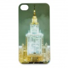 Moscow State University Pattern Protective Case w/ Flashing LED for Iphone 4 / 4S (1 x CR2025)