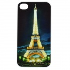 Eiffel Tower Pattern Protective Plastic Case w/ Flashing LED for iPhone 4 / 4S (1 x CR2025)