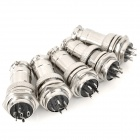 DIY 16mm 6-Pin GX16 Aviation Plug Socket Connector - Silver (5 Pieces Pack)